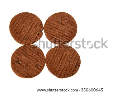 BISCUITS - A stack of delicious Chocolate Chip Cookie and cream biscuit on white background    - stock photo