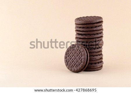 BISCUITS - A stack of delicious cream biscuits, Cookies  - stock photo