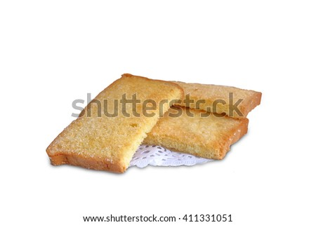 Biscuits butter with sugar on white background