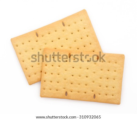 Biscuits or crackers on white background - stock photo