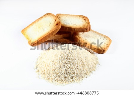 biscuits with bread crumbs on white background