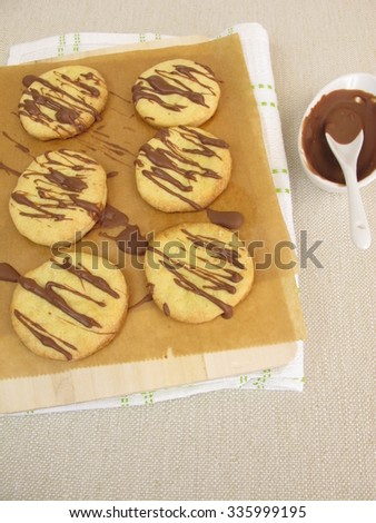 Biscuits with chocolate - stock photo