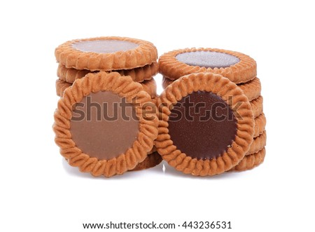biscuits with chocolate and coffee cream isolated on white background - stock photo