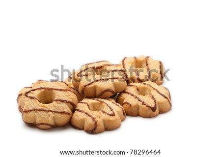 biscuits with chocolate draped over them - stock photo