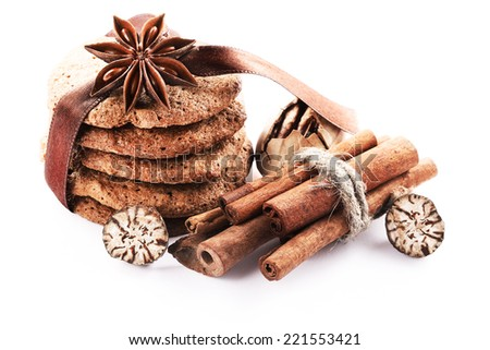 biscuits with cinnamon, nutmeg, anise - stock photo