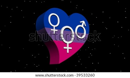 Bisexual woman in flag color heart in stary night - stock photo