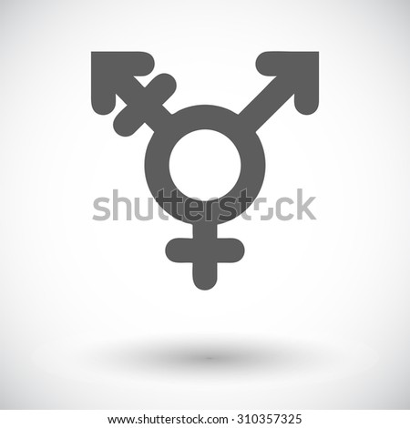 Bisexuals sign. Single flat icon on white background.  illustration. - stock photo