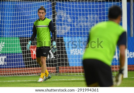 BISHAN,SINGAPORE-JUNE1: Chanin Sae-Ear(GK) of Thailand in action before the 28th SEA Games Singapore 2015 match between Thailand and Timor Leste at Bishan Stadium on JUNE1 2015 in,SINGAPORE - stock photo