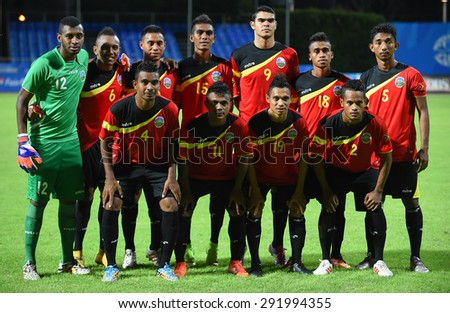 BISHAN,SINGAPORE-JUNE1: Players of Timor Leste U23 shot photo during the 28th SEA Games Singapore 2015 match between Thailand and Timor Leste at Bishan Stadium on June 1 2015 in,SINGAPORE - stock photo