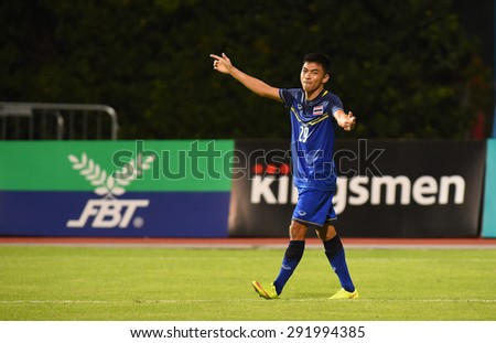 BISHAN,SINGAPORE-JUNE1: Rungrat.P(29) of Thailand celebrate the score during the 28th SEA Games Singapore 2015 match between Thailand and Timor Leste at Bishan Stadium on JUNE1 2015 in,SINGAPORE - stock photo