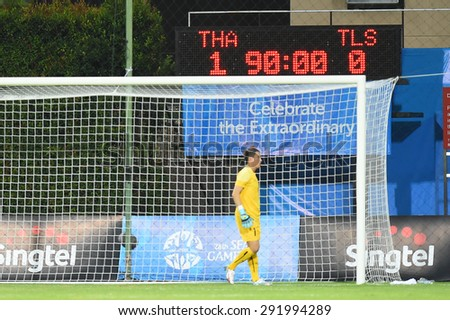 BISHAN,SINGAPORE-JUNE1:The score after the 28th SEA Games Singapore 2015 match between Thailand and Timor Leste at Bishan Stadium on JUNE1 2015 in,SINGAPORE - stock photo
