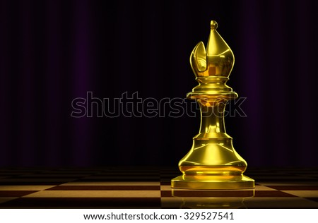 Bishop gold on a checkerboard background in luxury. - stock photo