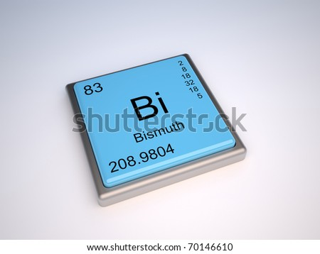 Bismuth chemical element of the periodic table with symbol Bi - IUPAC - stock photo
