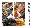 Bistro cooking, steak, mussels, tripe, french fries and paella - stock photo