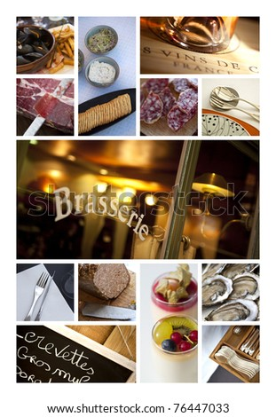 Bistros,pubs and restaurant collage - stock photo