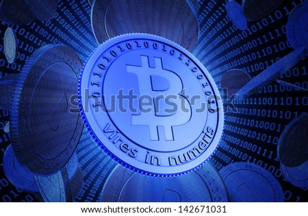 Bit coins, the virtual currency concept illustration - stock photo
