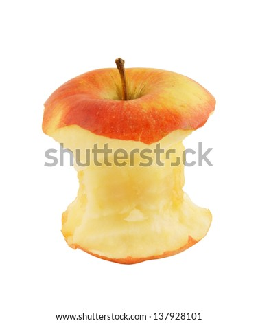 Bit of an apple isolated on white background - stock photo