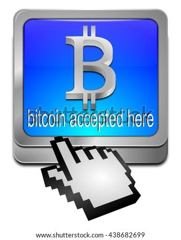 Bitcoin accepted here button - 3D illustration - stock photo