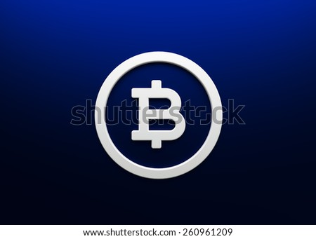 Bitcoin blue background white icon 3d render - stock photo