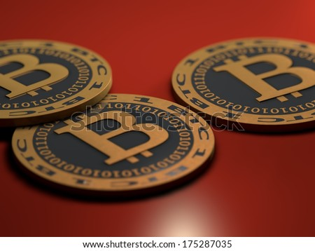Bitcoin coins - stock photo