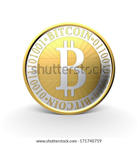 Bitcoin - 3d illustration, isolated on white background - stock photo