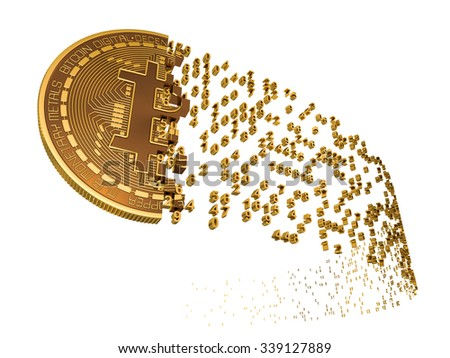 Bitcoin Falling Apart To Digits. 3D Model. - stock photo