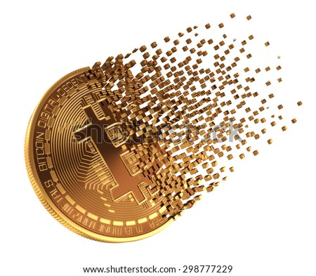 Bitcoin Falls Apart To Pixels. 3D Model. - stock photo