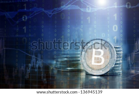 bitcoin financial concept - stock photo