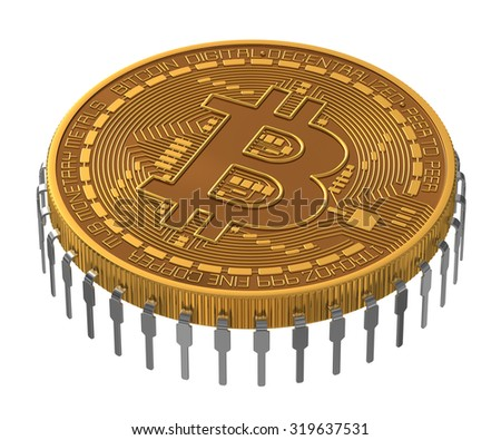 Bitcoin Microchip On White Background. - stock photo