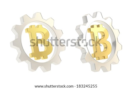 Bitcoin peer-to-peer crypto currency golden sign inside of a silver cogwheel gear isolated over white background, set of two foreshortenings - stock photo