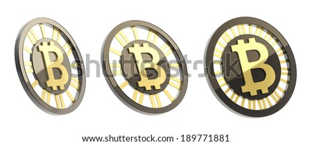 Bitcoin peer-to-peer digital currency symbol as a coin made of black plastic and gold, isolated over white background, set of three foreshortenings - stock photo
