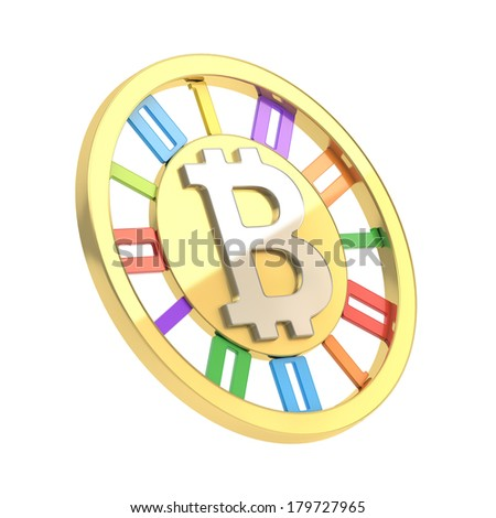 Bitcoin peer-to-peer digital currency symbol as a golden coin with colorful digits inside, isolated over white background - stock photo