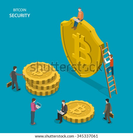 Bitcoin security isometric flat concept. People are walking near shield with bitcoin sign and digital coins. Safe transaction, protected transfer. - stock photo