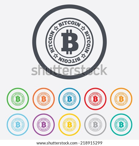 Bitcoin sign icon. Cryptography currency symbol. P2P. Round circle buttons with frame. - stock photo