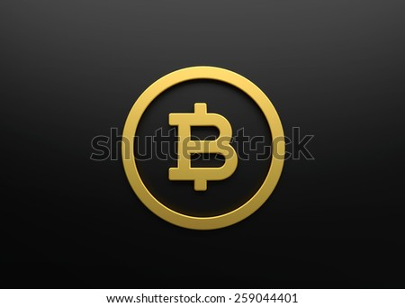 Bitcoin sign - render 3d - stock photo
