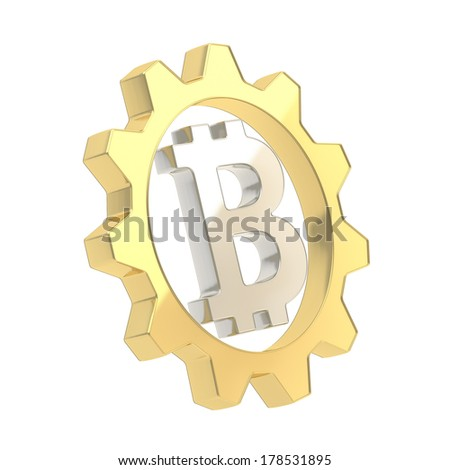 Bitcoin silver peer-to-peer crypto currency sign inside of a golden cogwheel gear isolated over white background - stock photo