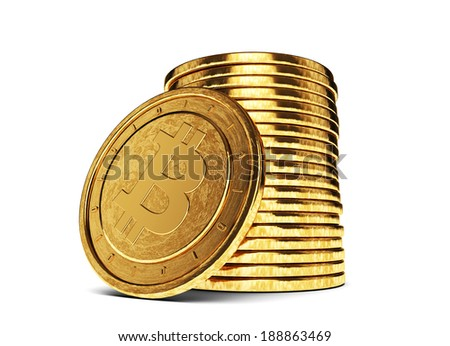 Bitcoin stack of gold coins 3D - stock photo