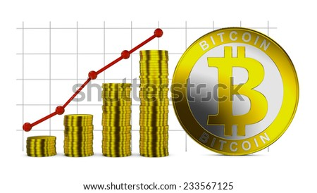 Bitcoin symbol and Infographics with stacks of coins - stock photo