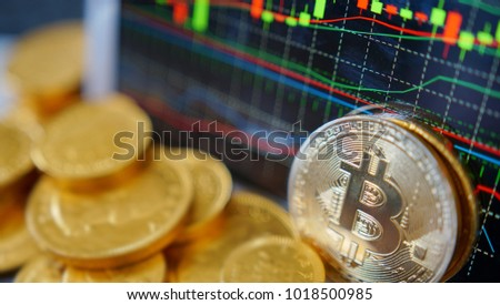 Bitcoin symbol. Financial graph background, crypto currency