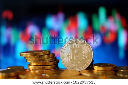 Bitcoin symbol. Financial graph background, crypto currency.