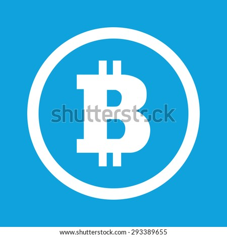 Bitcoin Symbol In Circle Isolated On Blue