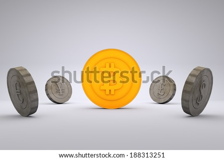 Bitcoin vs. other currencies - stock photo