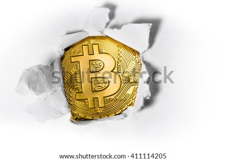 bitcoin with paper - stock photo