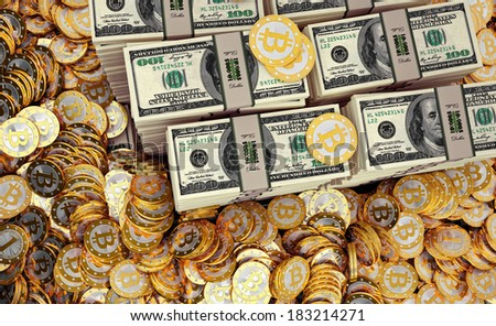 Bitcoins and Dollars - stock photo