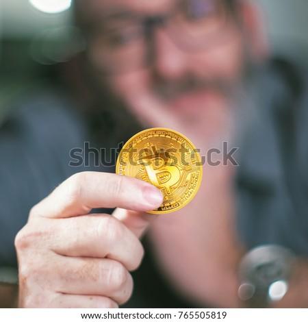 Bitcoins Bitcoin Hand Casual Businessman Wondering Stock Photo