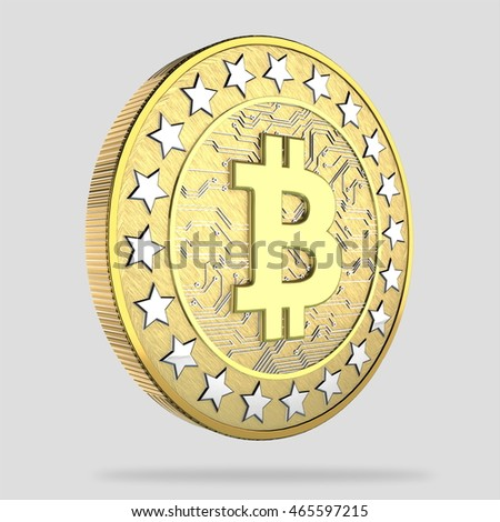 Bitcoins isolated on white, 3d render