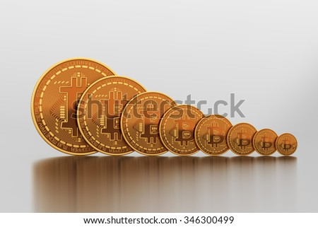 Bitcoins Vary In Size. 3D Scene.