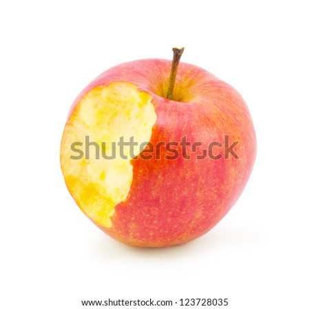 bite apple isolated on white background - stock photo