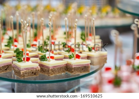 bite sized snack for wedding party - stock photo