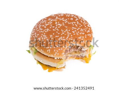 Bited Beef Burger isolated on white background
